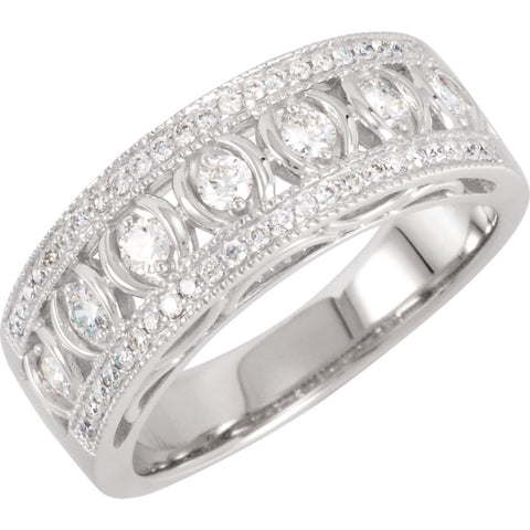1/2 CTTW Diamond Anniversary Band in 14k White Gold ( Size 7 )