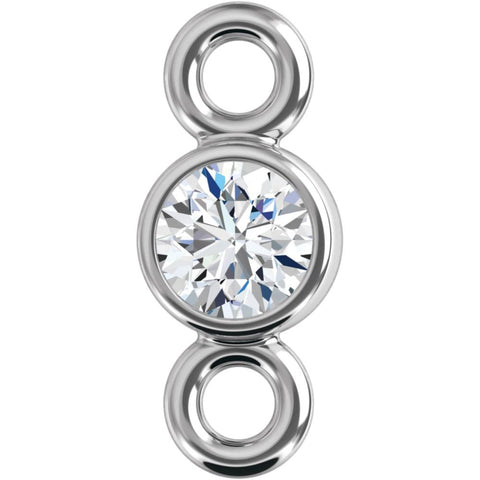 14K White Gold 2.5mm Round Diamond Micro-Bezel Link Component