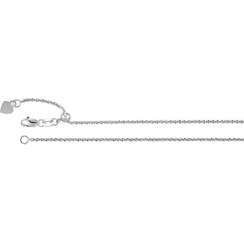 Adjustable Fashion Chain 1.4mm in 14k White Gold (22 inch)
