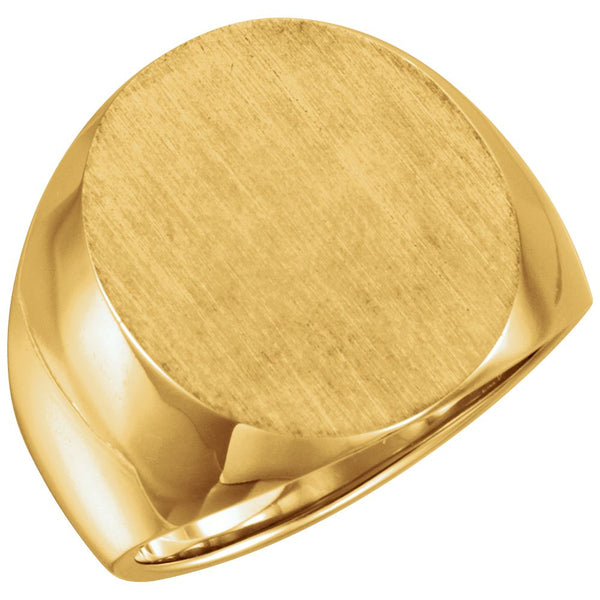 10k Yellow Gold 20x17mm Men's Solid Signet Ring, Size 10