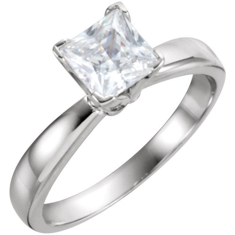 14k White Gold 1/2 CTW Diamond Solitaire Engagement Ring, Size 6
