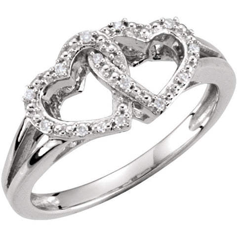 Sterling Silver .05 CTW Diamond Double Heart Design Ring Size 6