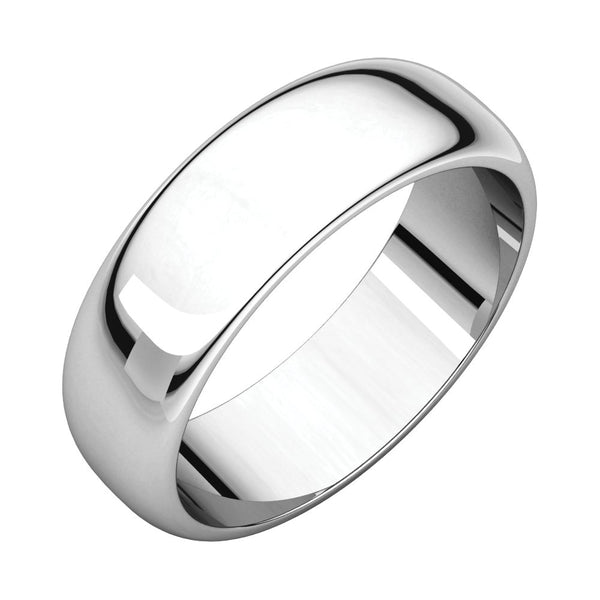Sterling Silver 6mm Half Round Band, Size 6.5
