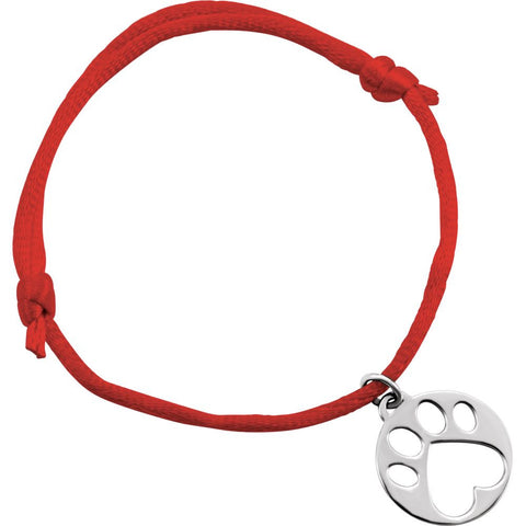 14K White Gold Red Satin Cord Adjustable Bracelet With Paw Charm