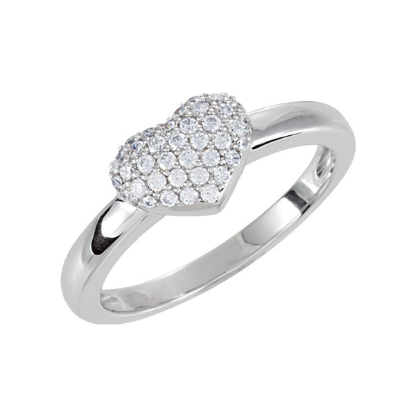 Sterling Silver Cubic Zirconia Pavé Heart Ring Size 7
