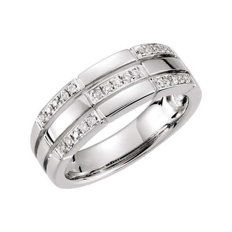 1/8 CTTW Diamond Ring in 14k White Gold (Size 6 )