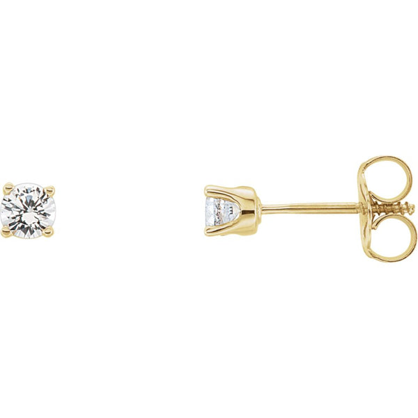 14k Yellow Gold White Sapphire Youth Earrings