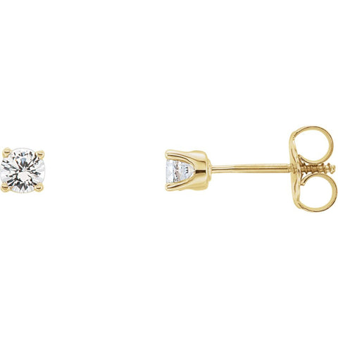 14k Yellow Gold 1/5 ctw. Diamond Kid's Earrings