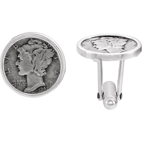 Pair of 18.80x18.80mm Sterling Silver Mercury Dime Coin Cuff Links