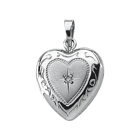 19.50x12.75 mm Heart Shaped Locket with Diamond in Sterling Silver