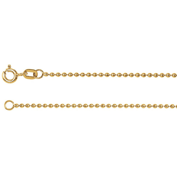 "14k Yellow Gold Solid Bead 7"" Chain"