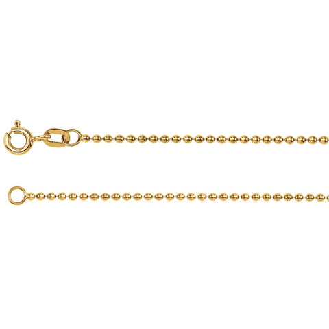 1.5 mm Solid Bead Chain Bracelet in 14k Yellow Gold ( 7-Inch )