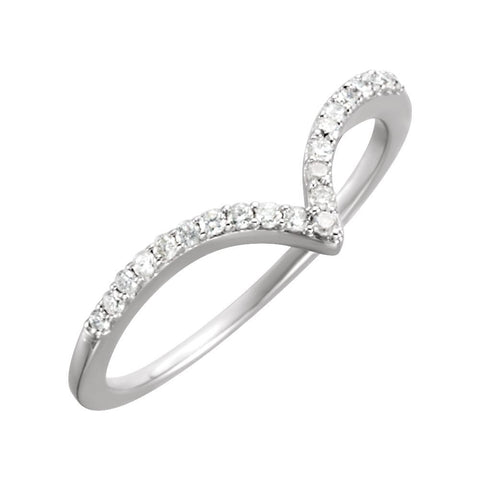 "14k White Gold 1/6 CTW Diamond ""V"" Ring Size 7"