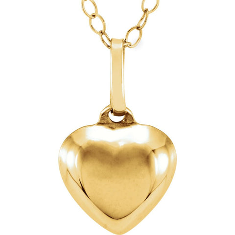 14k Yellow Gold Puffed Heart Youth Pendant