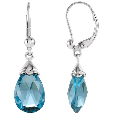 14k White Gold Swiss Blue Topaz Earrings