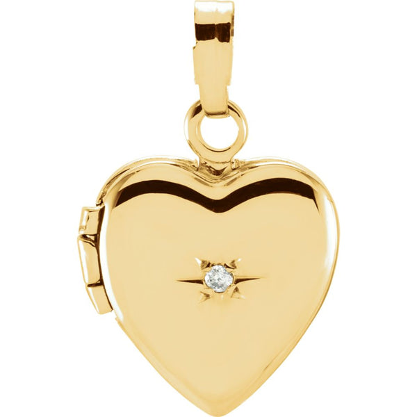 14k Yellow Gold .005 CTW Diamond Heart Shaped Locket