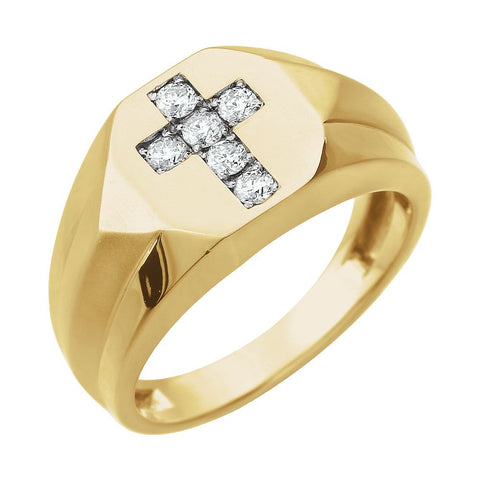 1/3 CTW Diamond Cross Ring in 14K Yellow Gold (Size 10)