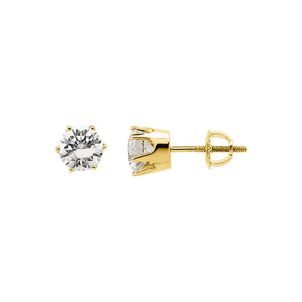 14k Yellow Gold 6.5mm Cubic Zirconia Stud Earrings