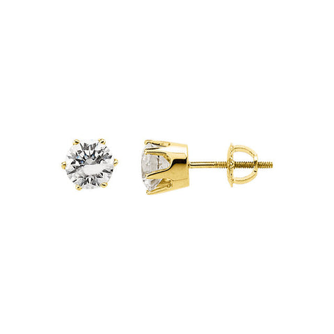 14k White Gold 5.75mm Cubic Zirconia Stud Earrings