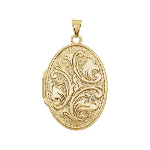 14k Yellow Gold Oval Embossed Locket