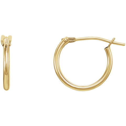 14K Yellow Gold 11mm Kids Hoop Earrings With Packaging