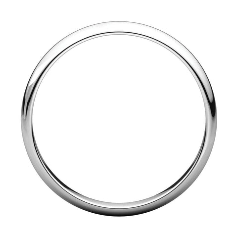 10k White Gold 3mm Half Round Light Band, Size 3