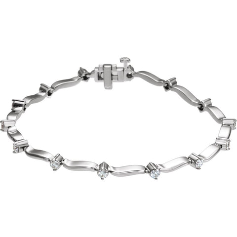 14k White Gold 1 ctw. Diamond Line Bracelet