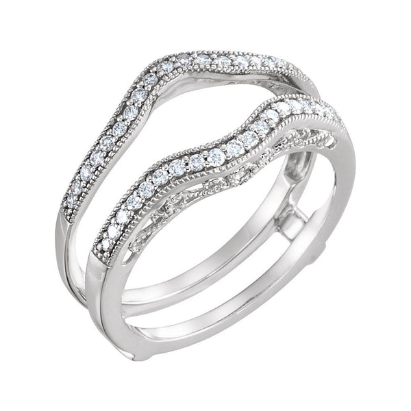 14k White Gold 1/4 CTW Diamond Ring Guard , Size 7