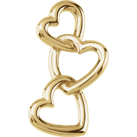 14k Yellow Gold Linked Hearts Pendant