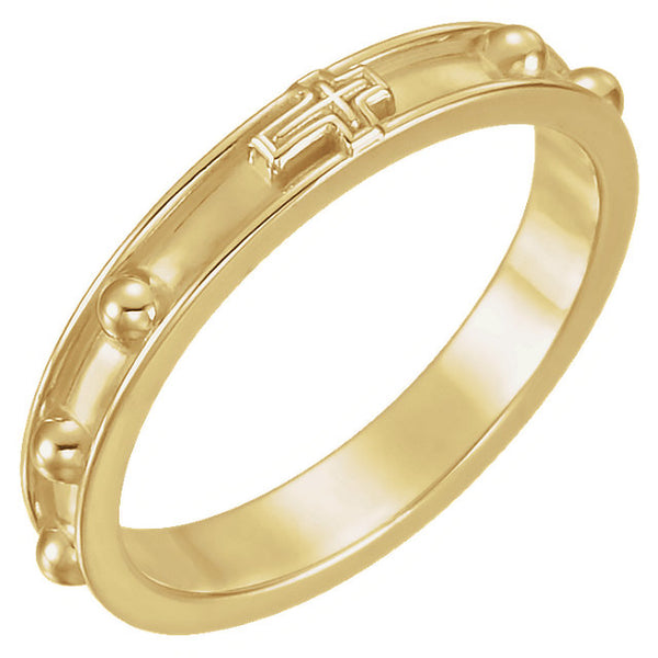 14k Yellow Gold Rosary Ring Size 12