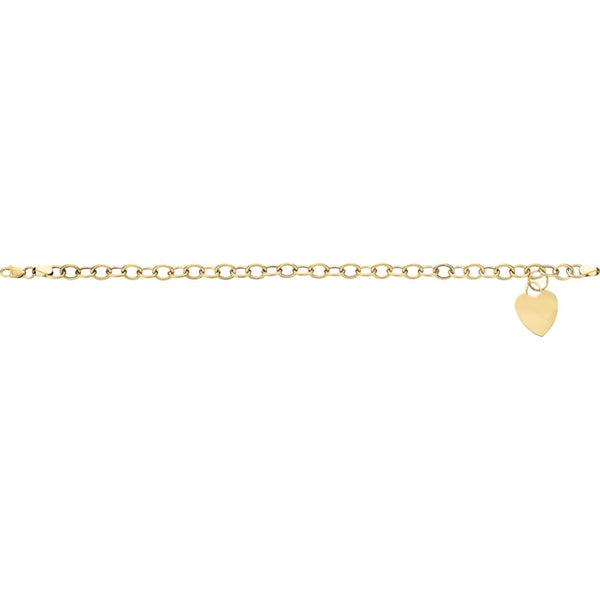 14k Yellow Gold Hollow Charm Bracelet with Heart