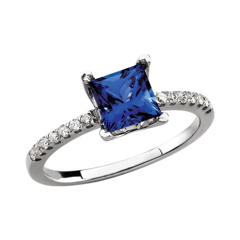 14k White Gold Chatham® Created Sapphire & 1/6 CTW Diamond Ring, Size 7