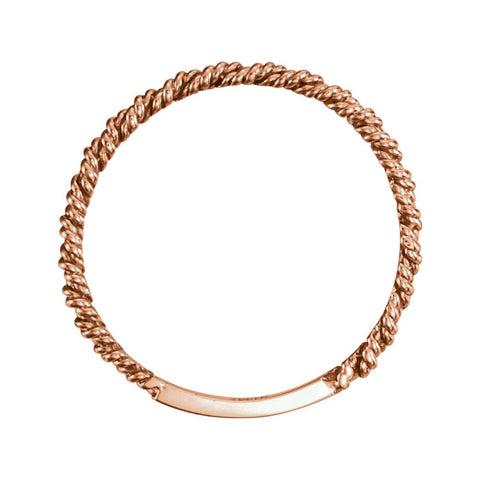 14k Rose Gold 2mm Twisted Rope Band, Size 7