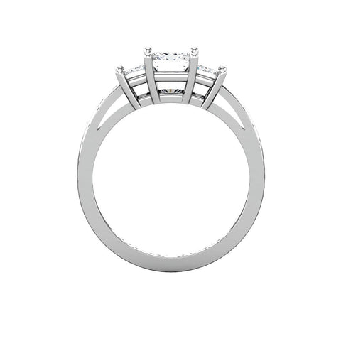 14k White Gold 4.5x4.5mm Round 1 CTW Diamond 3-Stone Engagement Ring, Size 7
