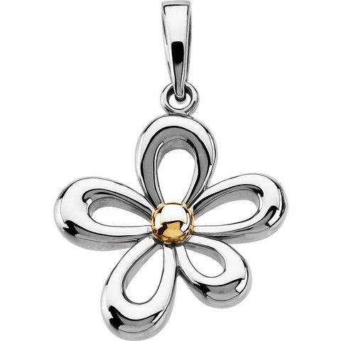 14K White & Yellow Gold Floral-Inspired Pendant