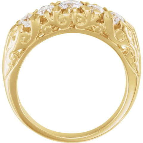 14k Yellow Gold 3/4 CTW Diamond Anniversary Band, Size 6