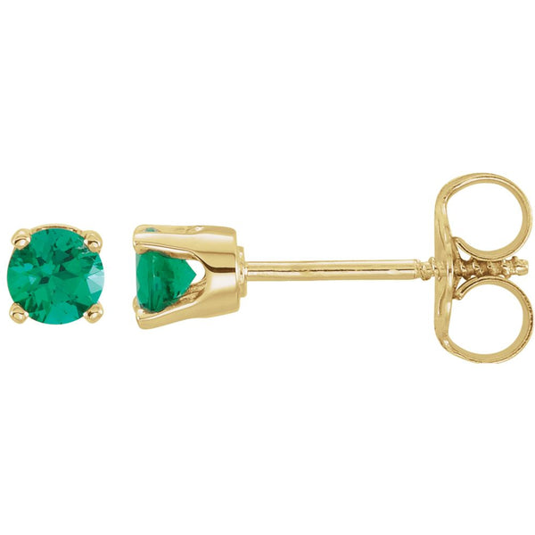 14k Yellow Gold Imitation Emerald Youth Earrings