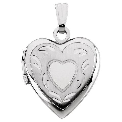 14k White Gold 17.50x14.75mm Heart Locket