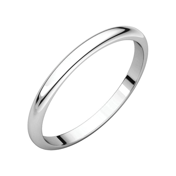 10k White Gold 2mm Half Round Band, Size 3