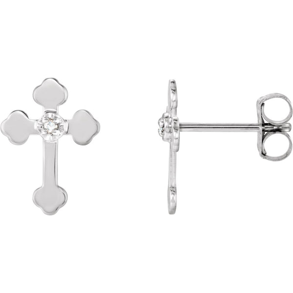 14k White Gold .01 CTW Diamond Cross Earrings