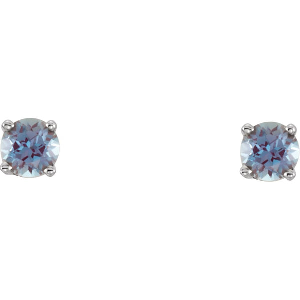 14k White Gold Imitation Alexandrite Youth Earrings