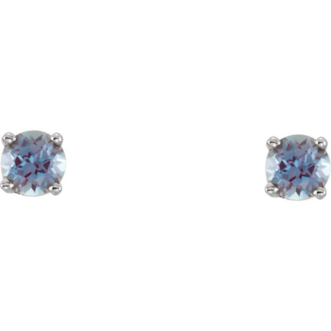 Sterling Silver Imitation Alexandrite Kid's Earrings