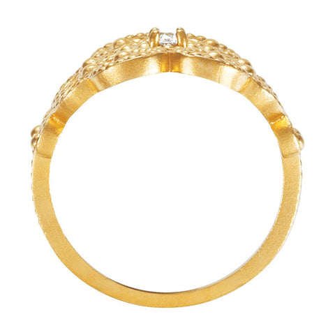 14k Yellow Gold Granulated Design Ring Size 7