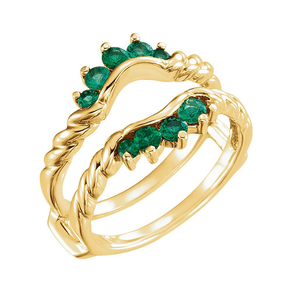 14k Yellow Gold Emerald Ring Guard, Size 7