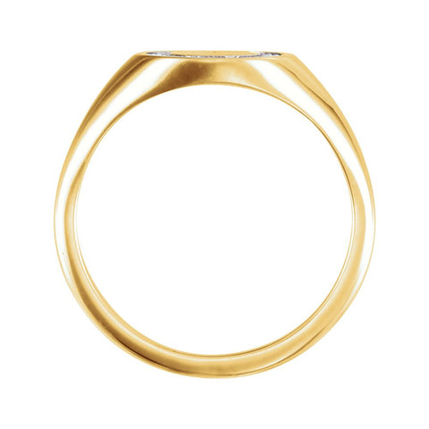 14k Yellow Gold 1/6 CTW Diamond Signet Ring, Size 7