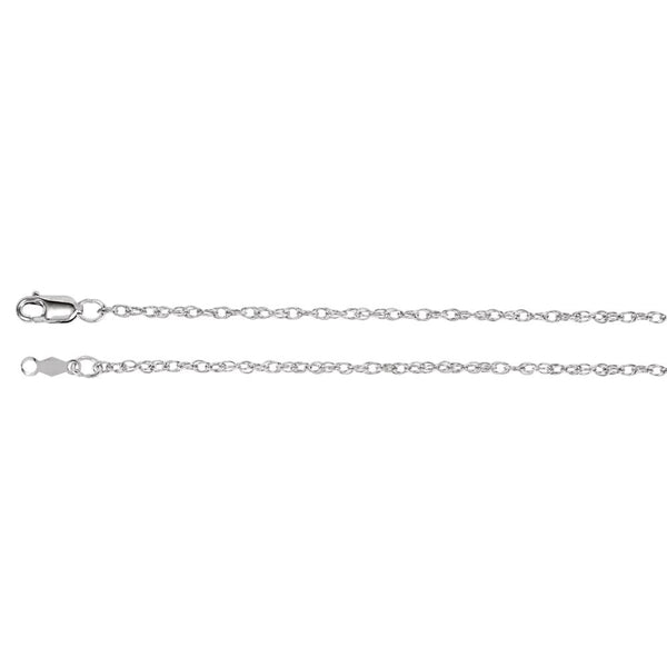"14k White Gold 1.5mm Rope 24"" Chain"