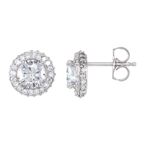 Pair of 1 1/2 CTTW Entourage Friction Post Stud Earrings in 14k White Gold