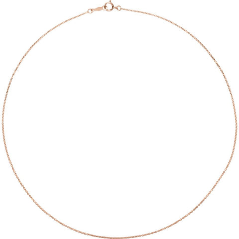 "18k Yellow Gold 1mm Solid Cable 18"" Chain"