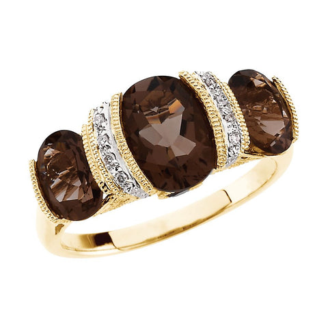 14k Yellow Gold Smoky Quartz & Diamond Accented Granulated Design Ring, Size 7