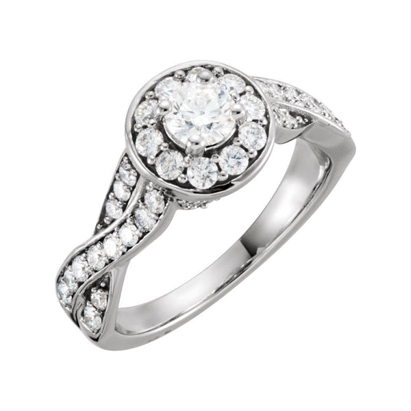 Twist-Style Engagement Ring in 14k White Gold, Size 7